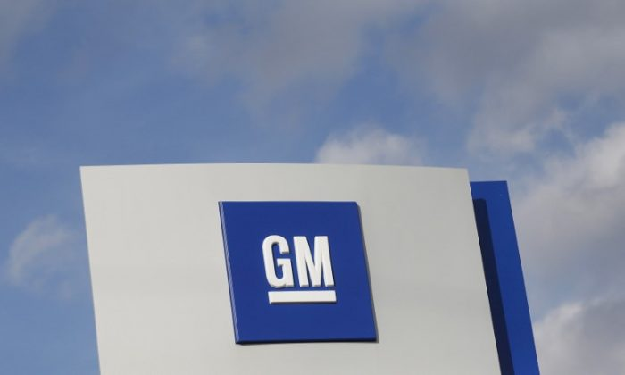 The GM logo is seen at the General Motors Warren Transmission Operations Plant in Warren, Mich., on Oct. 26, 2015. (Rebecca Cook/Reuters/File Photo)