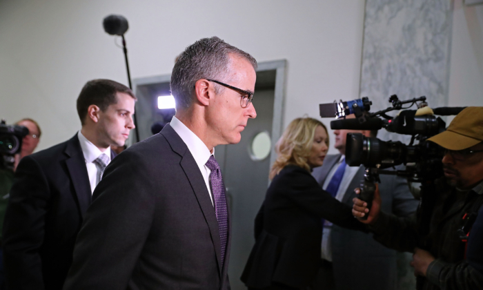 Federal Bureau of Investigation Deputy Director Andrew McCabe arrives for a meeting with members of the Oversight and Government Reform and Judiciary committees in the Rayburn House Office Building Dec. 21, 2017 in Washington. (Chip Somodevilla/Getty Images)