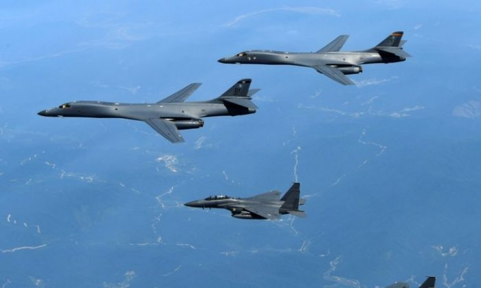 U.S. Air Force B-1B bombers and South Korean fighter jets fly over the Korean Peninsula during military exercises on June 20, 2017. (South Korean Defense Ministry)