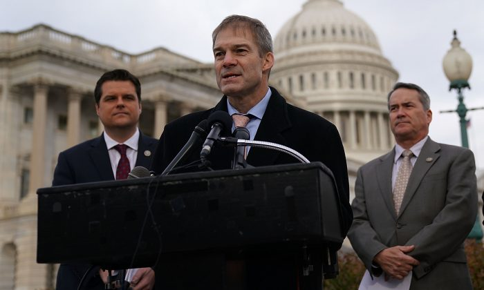 Rep. Jim Jordan speaks as  (L-R) Reps. Matt Gaetz and Jody Hice listen during a news conference in front of the Capitol in Washington, D.C., on Dec. 6, 2017. (Alex Wong/Getty Images)