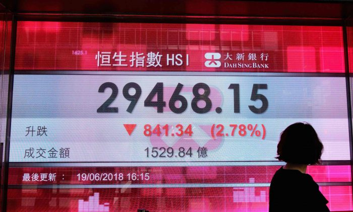 A pedestrian walks past a stocks display board after the Hang Seng Index closed at 29468.15, a loss of 2.78 percent, in Hong Kong on June 19, 2018. (Anthony Wallace/AFP/Getty Images)