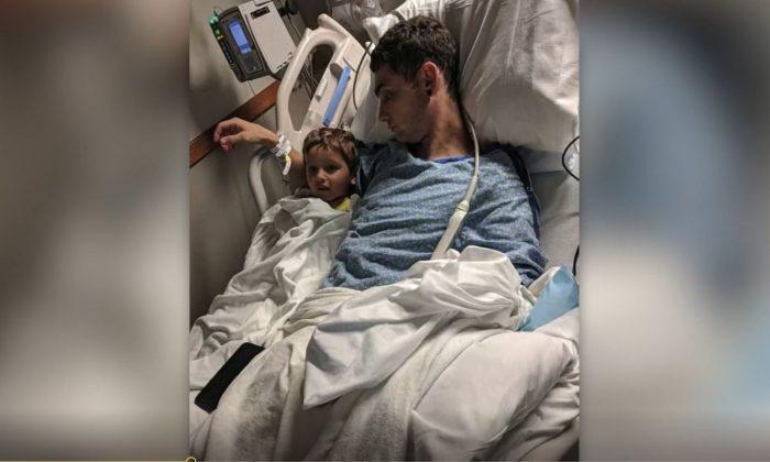Scottie Jochum recovering in the hospital after wrist surgery on June 18, 2018. (Screenshot via KDVR)