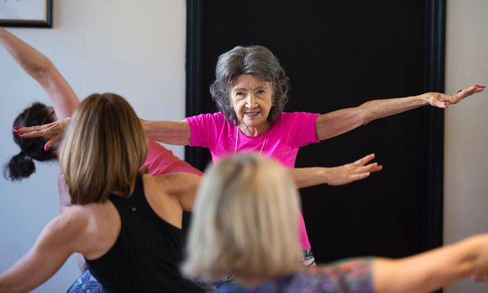 The 98-year-old Yoga Master Tao Porchon-Lynch(R) instructs a yoga class Jan. 16, 2017 in Hartsdale, New York. Dr. Marilyn Singleton argues that we need to take responsibility for our health by making good lifestyle choices. (DON EMMERT/AFP/Getty Images)