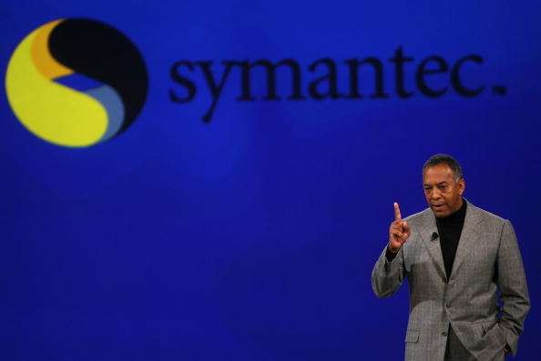 John W. Thompson, Chairman of the Board and CEO of Symantec Corporation, gives a conference in San Francisco, on Feb. 6, 2007. (Gabriel Bouys/AFP/Getty Images)