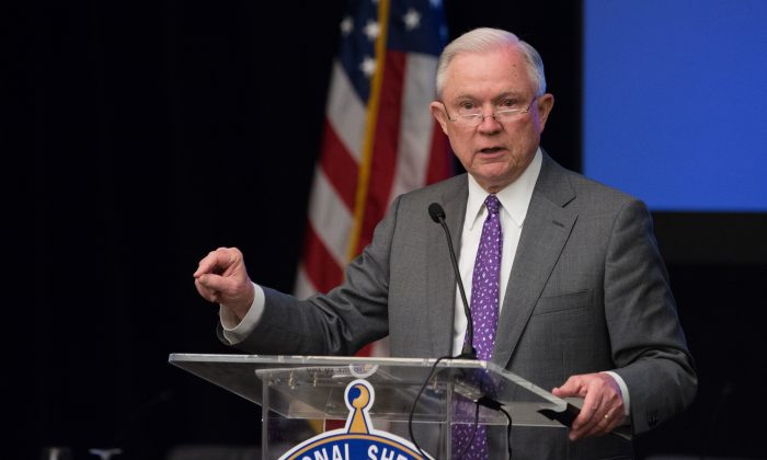 Attorney General Jeff Sessions speaks at an opioid roundtable in Washington on May 3, 2018. (Charlotte Cuthbertson/The Epoch Times)