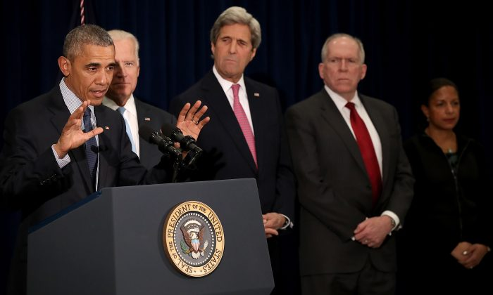 President Barack Obama at the headquarters of the CIA in Langley, Va., on April 13, 2016. Also pictured are (L-R) Vice President Joe Biden, Secretary of State John Kerry, CIA Director John Brennan, and National Security Adviser Susan Rice. (Win McNamee/Getty Images)