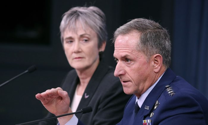 Air Force Secretary Heather Wilson and Air Force Chief of Staff Gen. David Goldfein brief the media at the Pentagon on November 9, 2017 in Arlington, Virginia. (Mark Wilson/Getty Images)