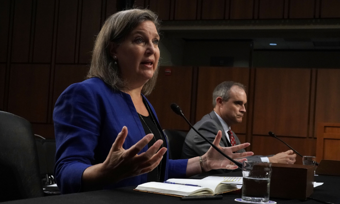 Former Assistant Secretary of State for European and Eurasian Affairs Victoria Nuland (L), and Michael Daniel (R), former White House cybersecurity coordinator and special assistant to President Obama, testify before the Senate Intelligence Committee on Capitol Hill in Washington, D.C., on June 20, 2018. (Alex Wong/Getty Images)