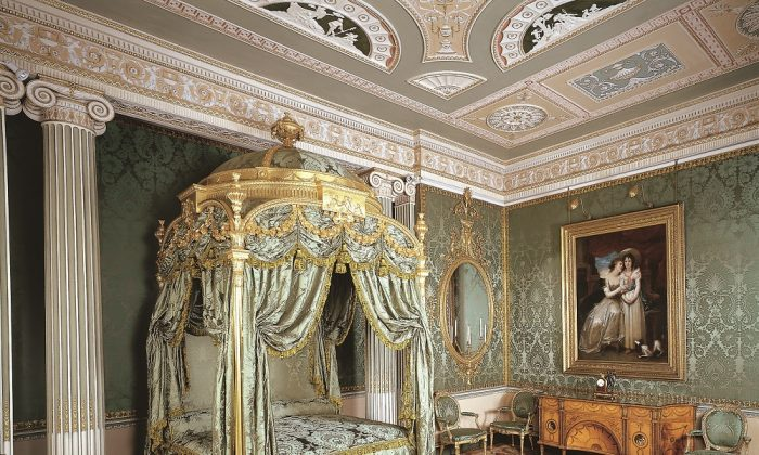 The 1773 State bed at Harewood House, made by Chippendale, is one of the most expensive pieces he ever supplied. It's gilded wood with intricately carved details and draped in green silk damask. (Harewood House)