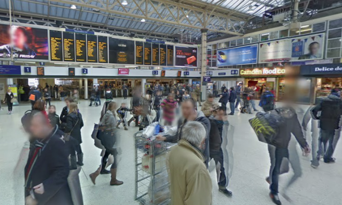 Inside of London's Charing Cross rail terminal. (Screenshot via Google Maps)