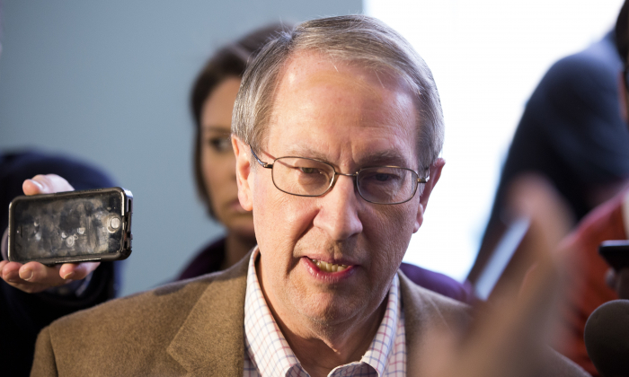 Rep. Bob Goodlatte (R-Va.) talks to media  during the 2018 Annual House and Senate Republican Conference, in White Sulphur Springs, W.Va., on Feb. 1, 2018. (Charlotte Cuthbertson/The Epoch Times)