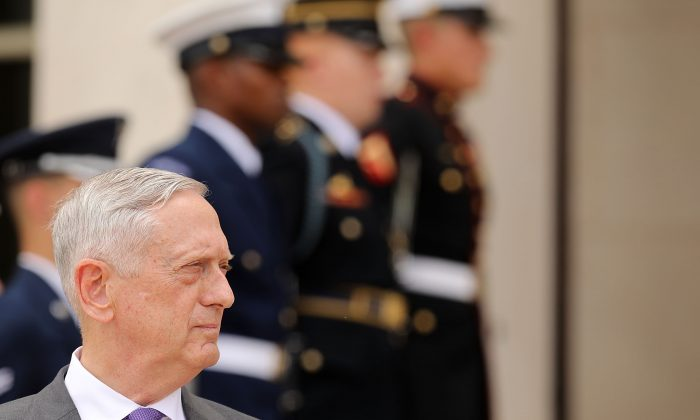 Defense Secretary James Mattis outside the Pentagon on June 20, 2018 in Arlington, Virginia. (Chip Somodevilla/Getty Images)