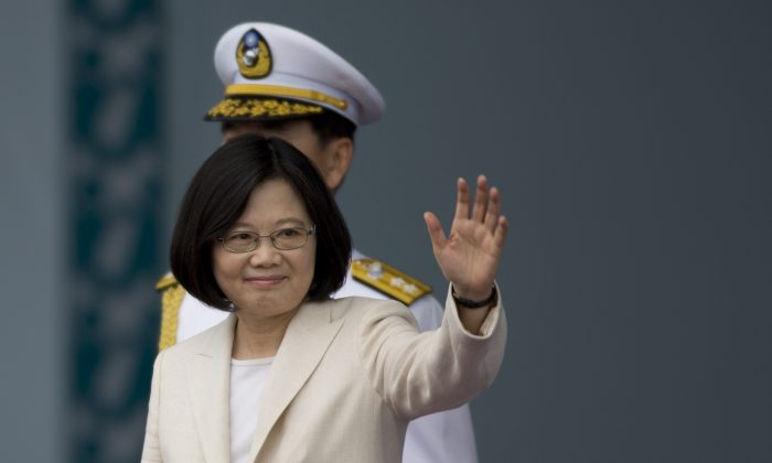 Taiwan President Tsai Ing-wen waves to the supporters at the celebration of herinauguration on May 20, 2016 in Taipei, Taiwan. (Ashley Pon/Getty Images)
