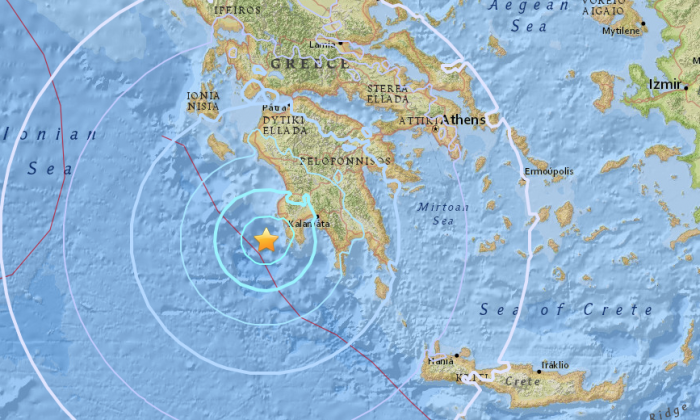 A 5.5 magnitude earthquake shook the southwestern area of the Peloponnese in Greece on Monday, June 25. (USGS)