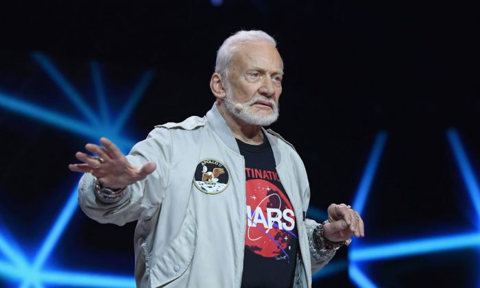 Astronaut Buzz Aldrin during WE Day New York Welcome to celebrate young people changing the world at Radio City Music Hall on April 6, 2017, in New York City.  (Dimitrios Kambouris/Getty Images for WE)