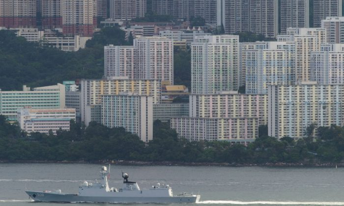 The Yantai, a Type 054A frigate of China's People's Liberation Army Navy (PLAN) arrives in Hong Kong territorial waters on July 7, 2017. (Tengku Bahar/AFP/Getty Images)