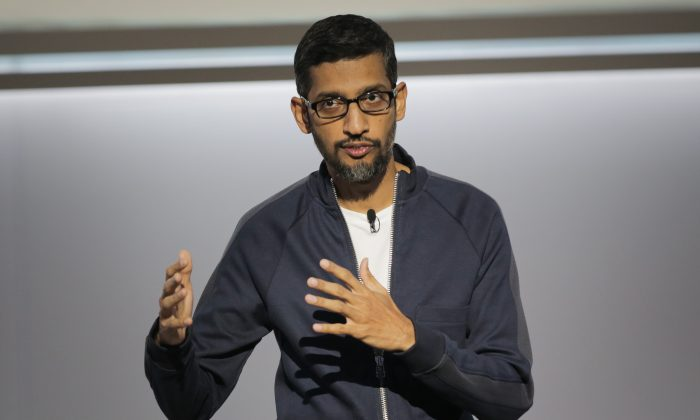 Sundar Pichai, chief executive officer of Google Inc., speaks about Google's improvements in Artificial Intelligence and machine learning at a product launch event, Oct. 4, 2017, at the SFJAZZ Center in San Francisco, California. (ELIJAH NOUVELAGE/AFP/Getty Images)