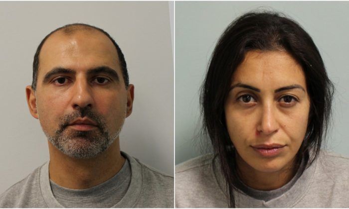 Quissem Medouni and Sabrina Kouider are seen in an undated booking photograph handed out by the Metropolitan Police in London, United Kingdom.  (Metropolitan Police handout via Reuters)