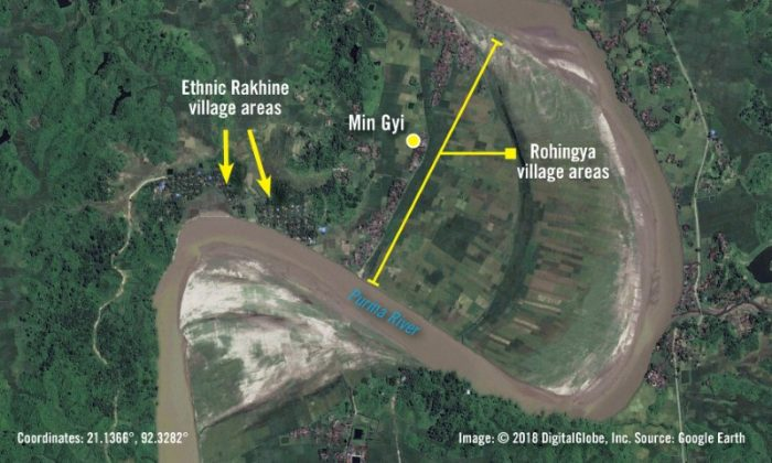 A satellite image taken on Sept. 24, 2017 and provided by Amnesty International on June 26, 2018 shows what they describe as the geography of Myanmar's Min Gyi village, divided between a Rohingya area surrounded by the Purma River on the north, east, and south, and an ethnic Rakhine area to the west. Amnesty International say that approximately 385 structures in the Rohingya area appear razed. (Amnesty International/DigitalGlobe/Handout via Reuters)