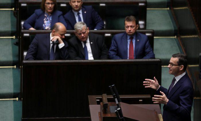 Poland's Prime Minister Mateusz Morawiecki speaks during debate about Holocaust bill at lower house of Parliament in Warsaw, Poland June 27, 2018. (Agencja Gazeta/Slawomir Kaminski via Reuters)