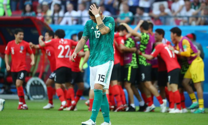 Soccer Football - World Cup - Group F - South Korea vs Germany - Kazan Arena, Kazan, Russia - June 27, 2018   Germany's Niklas Sule reacts after South Korea's Kim Young-gwon scored their first goal     (REUTERS/Pilar Olivares)
