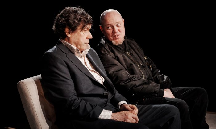 """Eric (Stephen Rea, L) finds a sympathetic ear for his hatred in Slim (Chris Corrigan), in the production of """"Cyprus Avenue,"""" written by David Ireland and directed by Vicky Featherstone, running at The Public Theater.  (Ros Kavanagh)"""