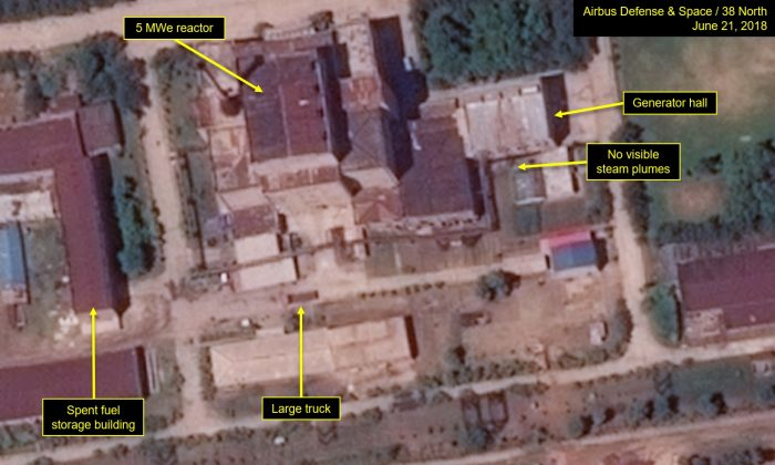 Satellite image of North Korea's Yongbyon Nuclear Scientific Research Center captured on June 21, showing a new cooling water pump house built for its nuclear reactor. (Airbus Defense and Space/38 North)
