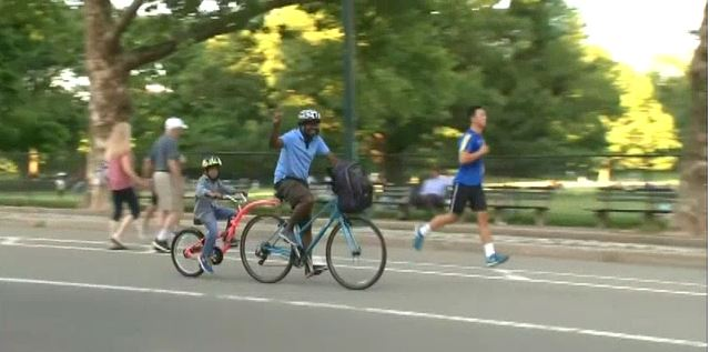 Photo of man riding his bike in a park in New York on June 26, 2018. (WNYW--NEW YORK via Fox)