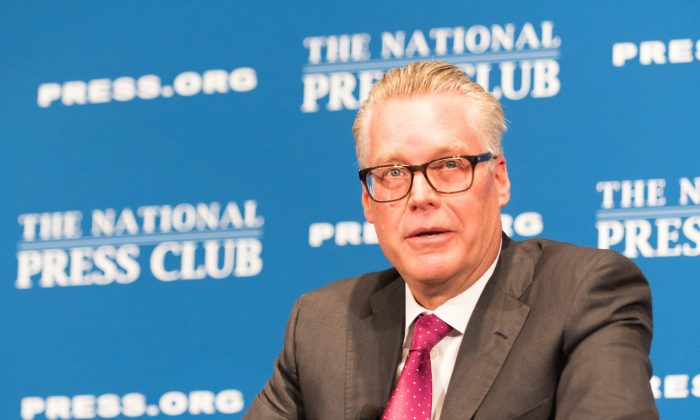 Delta Air Lines CEO Ed Bastian speaks at a National Press Club headliners luncheon, on June 27. (Noel St. John/The National Press Club)