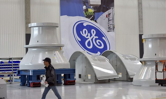 An employee is seen on Nov. 21, 2017 in Montoir-de-Bretagne, western France, at a factory of US company General Electric.   / AFP / LOIC VENANCE        (Photo credit should read LOIC VENANCE/AFP/Getty Images)