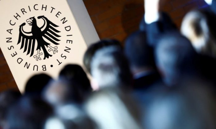 The logo of the German Federal Intelligence Agency (BND) is pictured at the 60th anniversary of the founding of the BND in Berlin, Germany, November 28, 2016. (Reuters/Hannibal Hanschke/File Photo)