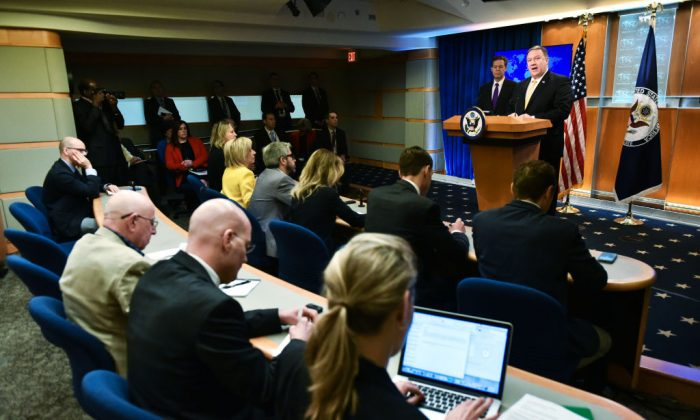 US Secretary of State Mike Pompeo speaks on the release of the 2017 Annual Report on International Religious Freedom on May 29, 2018, in the Press Briefing Room at the US Department of State in Washington, DC. (Mandel Ngan/AFP/Getty Images)