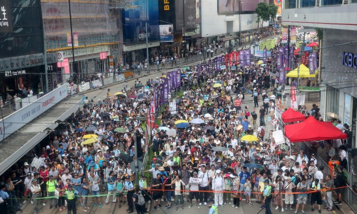 Overview of the parade in Hong Kong on July 1, 2018. (Li Yi/The Epoch Times)