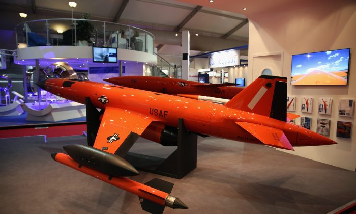 A BQM-167A high-performance remote-controlled aerial target drone, used by the U.S. air force is displayed on day four of the Farnborough International Airshow on July 16, 2014 in Farnborough, England. (Dan Kitwood/Getty Images)