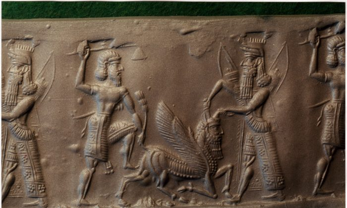 Gilgamesh and Enkidu kill the Bull of Heaven. Cylinder seal impression. MS 1989, Schøyen Collection, Norway. (Courtesy of Andrew George)