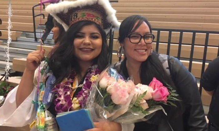 Erika Ramirez (L) with her mentor Kateri Joe at her graduation. (Courtesy of Erika Ann Ramirez)