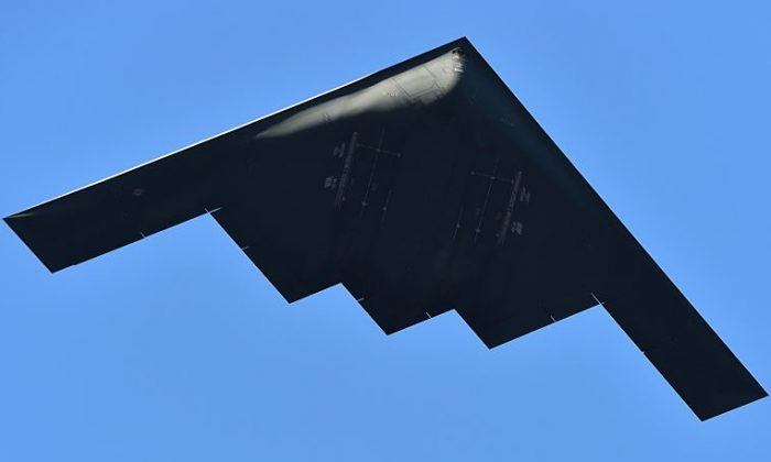 A U.S. Airforce Northrop Grumman B-2 Spirit B-2 Stealth Bomber participates in the 126th Annual Tournament of Roses Parade presented by Honda in Pasadena, California, on Jan. 1, 2015. (Alberto E. Rodriguez/Getty Images)