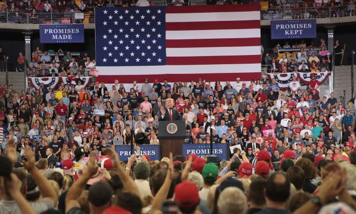 President Donald Trump speaks to supporters during a campaign rally at the Amsoil Arena in Duluth, Minnesota on June 20, 2018. (Scott Olson/Getty Images)