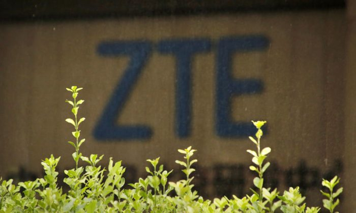 The logo of China's ZTE is seen at the lobby of ZTE Beijing research and development center building in Beijing, on June 13, 2018. (Jason Lee/Reuters)