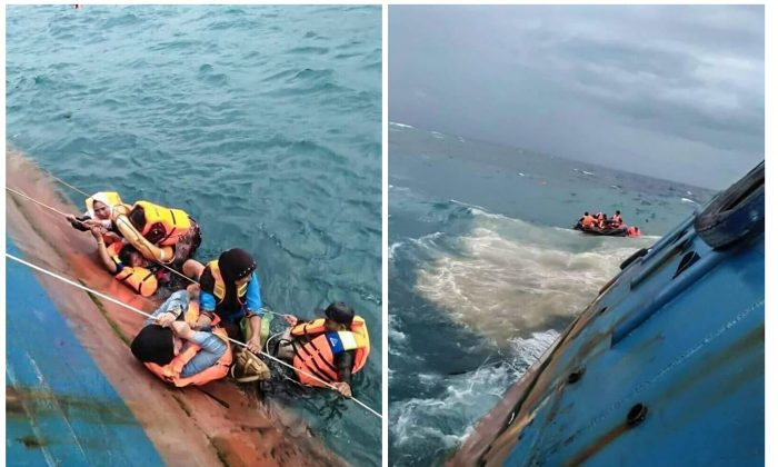A combination picture shows survivors of KM Lestari Maju boat in the waters of Selayar island, South Sulawesi province, Indonesia, July 3, 2018. (Antara Foto/Handout/RelawanBNPB/via Reuters)