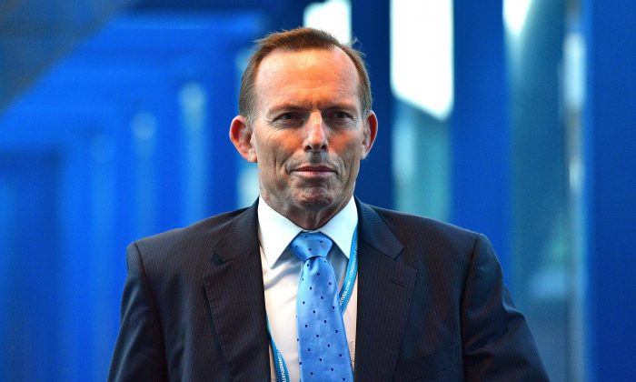 Former Prime Minister of Australia, Tony Abbott arrives for the fourth day of the Conservative Party Conference 2016 at the ICC Birmingham on Oct. 5, 2016 in Birmingham, England. (Carl Court/Getty Images)