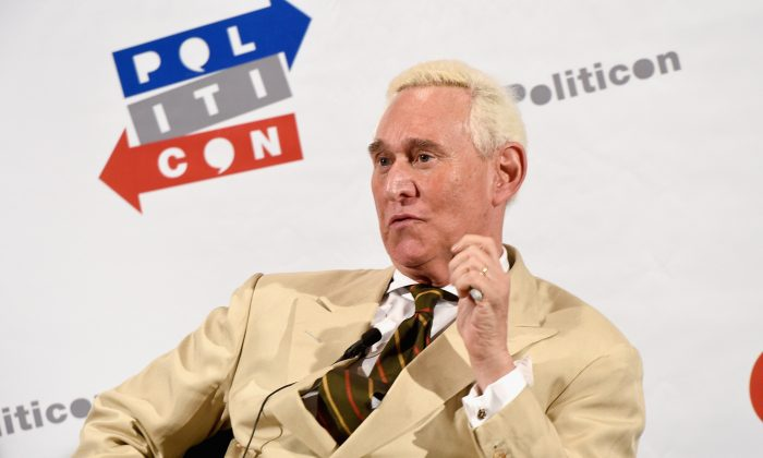 Roger Stone during Politicon at the Pasadena Convention Center in Pasadena, Calif., on July 29, 2017. (Joshua Blanchard/Getty Images for Politicon)