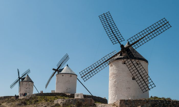 """The windmills of Consuegra, Spain, made famous by Miguel de Cervantes in his """"The Ingenious Nobleman Don Quixote of La Mancha."""" (Michal Osmenda/ CC 2.0)"""