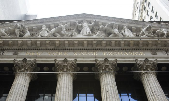 The New York Stock Exchange on Broad Street, New York, on Sept. 7, 2017. (Samira Bouaou/The Epoch Times)