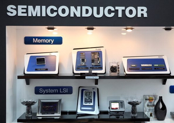 A display of semiconductors and devices at a Samsung media and analyst event in San Jose, California, on March 23, 2011. (Justin Sullivan/Getty Images)