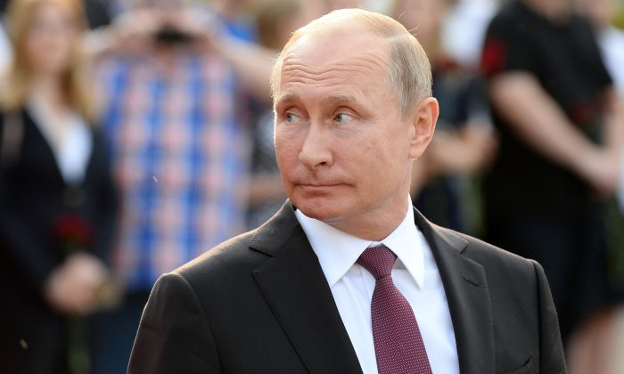Russian President Vladimir Putin at Schwarzenbergplatz in Vienna on June 5, 2018. (Thomas Kronsteiner/Getty Images)