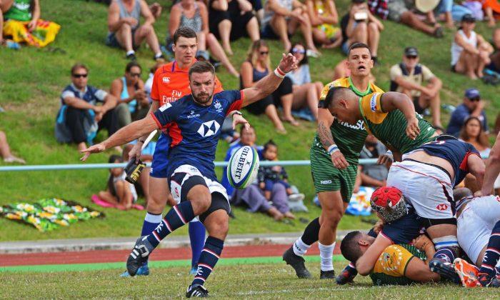 Liam Slatem clears the lines for Hong Kong in their RWC qualifier match vs Cook Islands on June 30.  (Rashneel Kumar/CIRU)