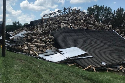The aftermath of a building collapse is seen in Bardstown, Kentucky, on July 4, 2018. (BARDSTOWN FIRE DEPARTMENT/via REUTERS)