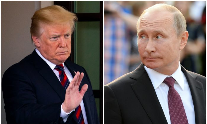 President Donald Trump and Russian President Vladimir Putin in file photos. (Samira Bouaou/The Epoch Times and Thomas Kronsteiner/Getty Images)