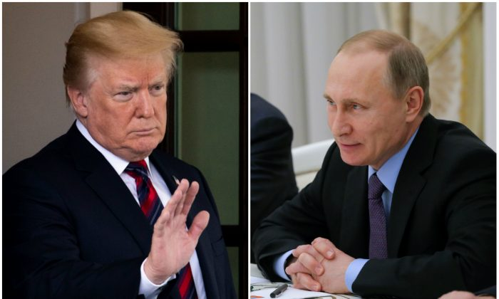 President Donald Trump and Russian President Vladimir Putin are set to meet in Helsinki on July 16, 2018. (Samira Bouaou/The Epoch Times and Maxim Shemetov/AFP/Getty Images)